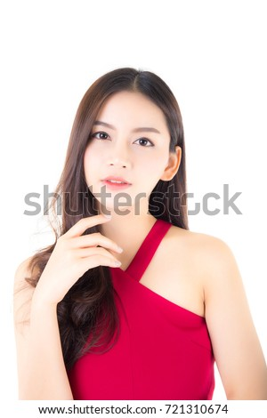 Beautiful young asian woman smiling of portrait, girl with wear red dress have a fun and happy of positive with success isolated on white background, female health model concept.