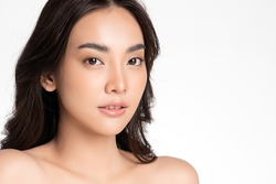 Beautiful Young asian Woman with Clean Fresh Skin, on white background, Face care, Facial treatment. Cosmetology, beauty and spa. Asian women portrait