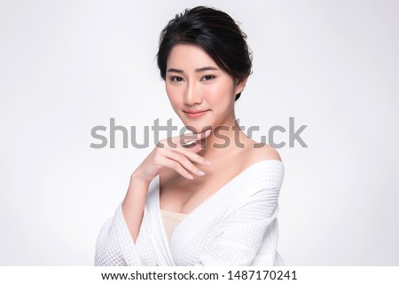 Beautiful Young Asian Woman with Clean Fresh Skin touch own face, Facial treatment, Cosmetology, beauty and spa, #1487170241