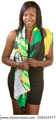 Beautiful young Black woman draped in Jamaican flag