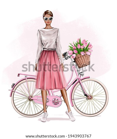 Beautiful young blond hair girl standing near bicycle. Fashion girl. Pretty woman in skirt. Girl in pink fluffy tulle skirt. Fashion illustration.
