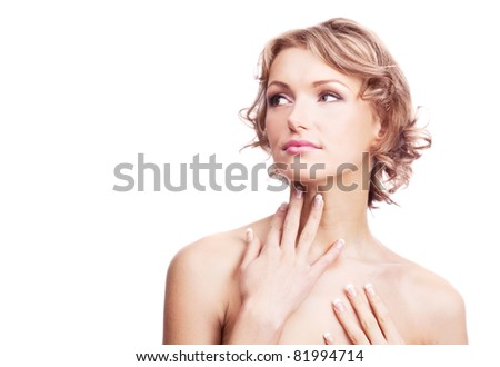 beautiful young blond woman touching her neck, isolated against white background