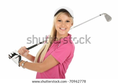 Beautiful young blonde golfer lady in pink shirt and white cap