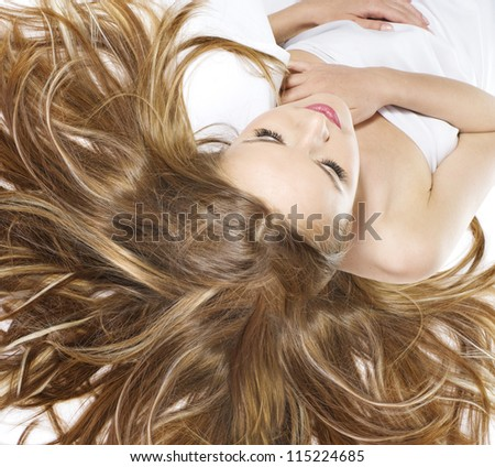 beautiful young blonde woman with wonderful hair
