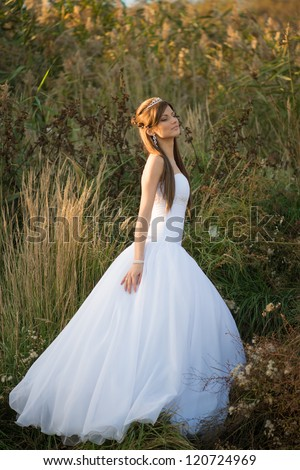 Beautiful young bride modeling elegant bridal gown in rural field