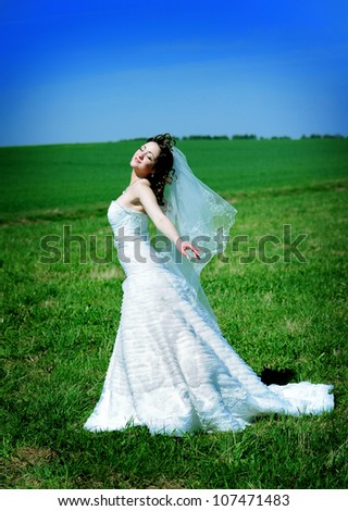 beautiful young bride  on the field