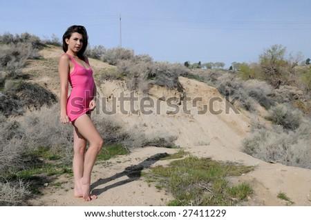 Beautiful young brunette in the desert, Hesperia, California