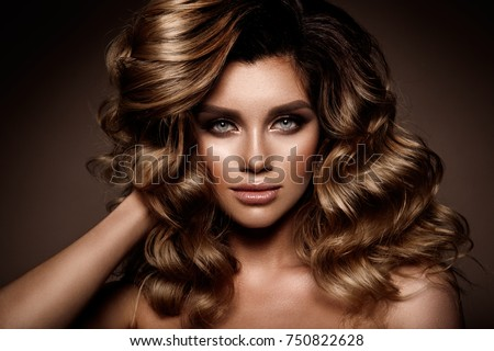 Beautiful young brunette with bright make up #750822628