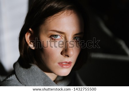 Beautiful young brunette woman in a gray sweater in the studio. Close-up of a young brunette woman. #1432755500