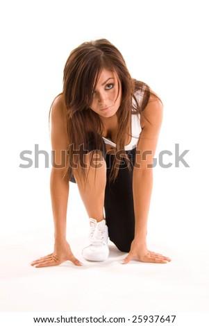 beautiful young brunette woman running