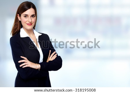 Beautiful young business woman. Accounting and finance background. stock photo