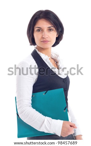beautiful young business woman hugging clipboard isolated on white background