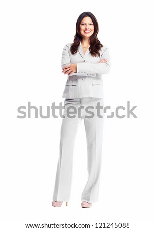 Beautiful young business woman isolated on white background.