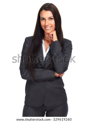 Beautiful young business woman isolated white background. stock photo
