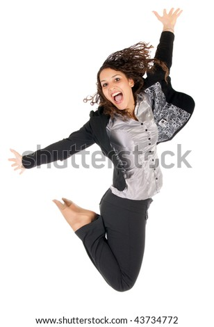 stock photo : beautiful young business woman jumping over white background