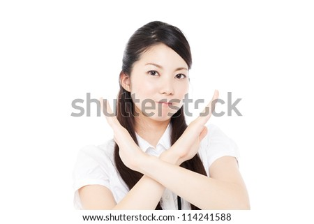Beautiful young business woman showing hand gesture. Portrait of