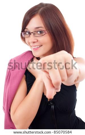 beautiful young business woman shows forefinger isolated on white background
