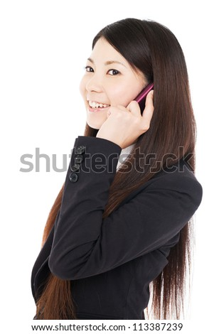 Beautiful young business woman using a  cellular. Portrait of