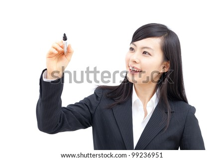 beautiful young business woman writing or drawing something on screen, isolated on white background