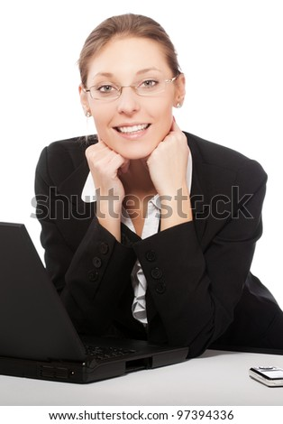 beautiful young businesswoman working on laptop isolated on white background - stock photo