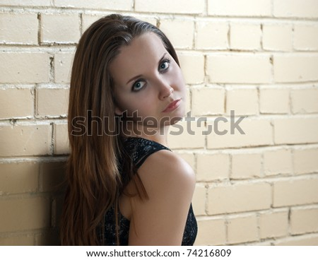 Beautiful young caucasian girl with brown hair near the brick wall.