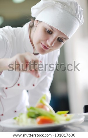 beautiful young chef woman prepare and decorating tasty food in kitchen - stock photo