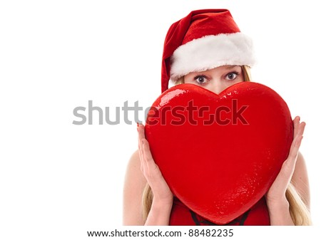 Beautiful Young Christmas Woman With Red Heart Isolated - stock photo