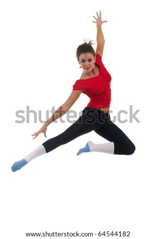 beautiful young dancer jumping on white background