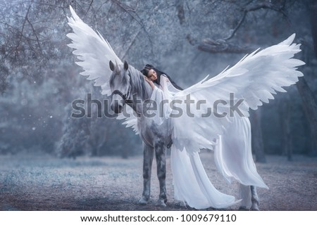 Beautiful, young elf, walking with a unicorn. Angel is wearing an incredible light white dress. The ice queen lies on the horse. Black hair. Concept Sleeping Beauty. Art Photography cold winter nature #1009679110