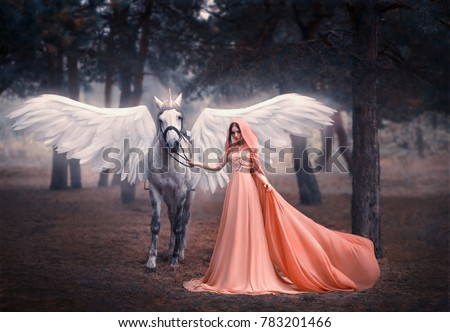 Beautiful, young elf, walking with a unicorn. She is dressed in a long orange dress with a cape, a hood. Artistic Photography #783201466