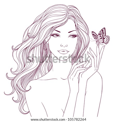 beautiful young fashion woman with long wavy hair looking at butterfly sitting on her hand spa style health care icon outline isolated on white background