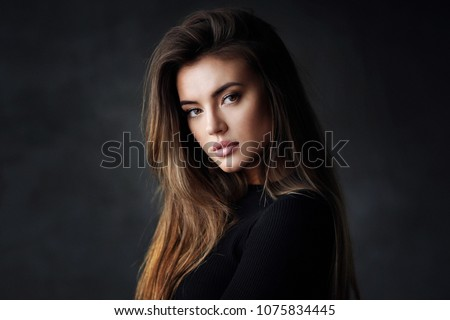 Stock Photo Beautiful young female brunette model
