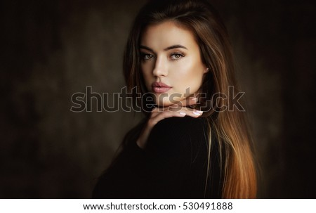 Beautiful young female brunette model - Shutterstock ID 530491888