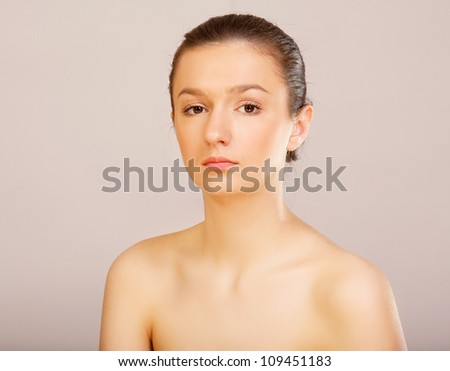 Beautiful young female face