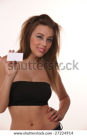 stock photo beautiful young female teen model holding blank card 27224914 Tags: free model galleries, nude sexy photo, nudist pictures young girls