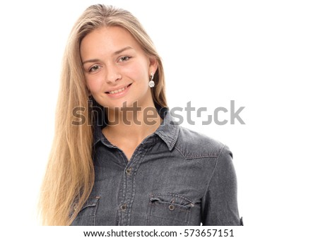Beautiful young girl blonde hair portrait cute smile