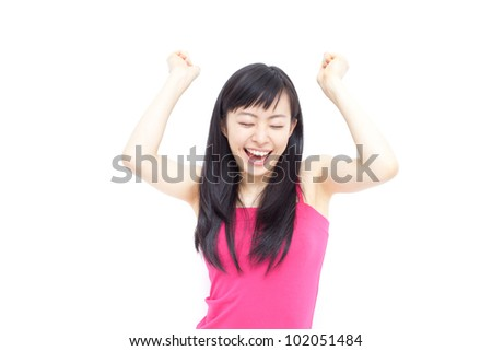 beautiful young girl cheering, isolated on white background
