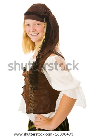 Beautiful young girl dressed as a pirate for Halloween.  Isolated on white.