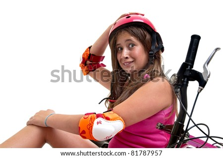 Beautiful young girl in a bicycle crash isolated in white