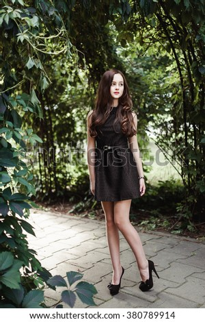 Beautiful Young Girl In Black Dress With Long Hair Super Cute And