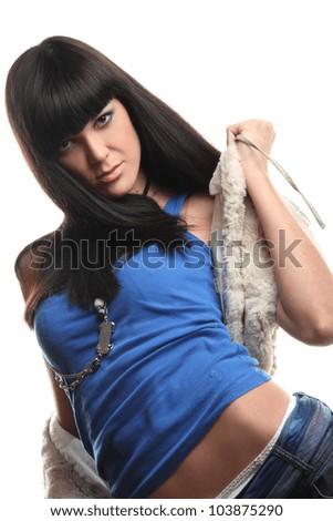 beautiful young girl in blue shirt