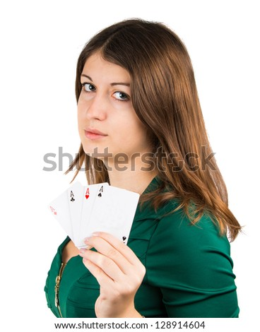 beautiful young girl in casino on a white background