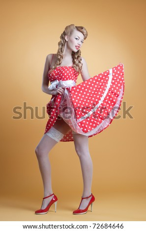 beautiful young girl in retro pin-up style