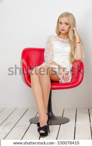 royalty free young beautiful female model in white