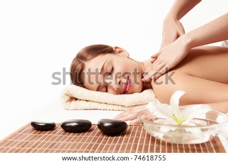Beautiful young girl make massage