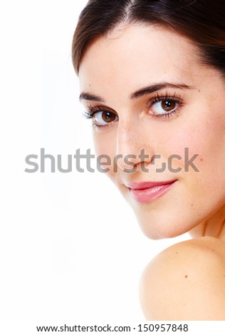 Beautiful young girl portrait close up. Isolated on white background.