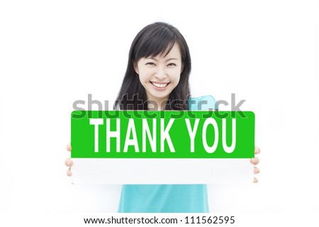 "beautiful young girl showing ""THANK YOU"" sign, isolated on white background"