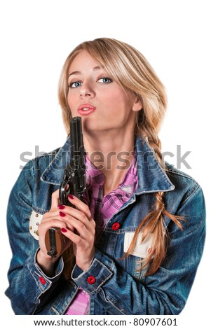 beautiful young girl with a gun on a white background