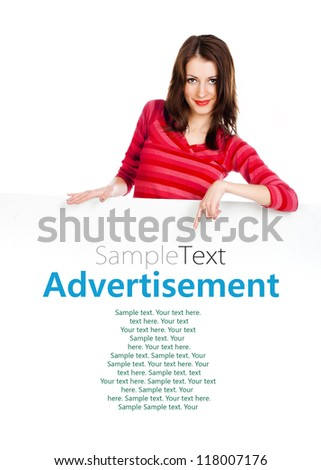 beautiful young girl with a white poster for your text or image with sample text