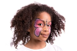 Beautiful young girl with face painted like a butterfly